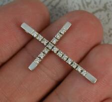 Vintage Oro Blanco De 18 Quilates Y Diamante Cruz Colgante p2085