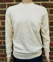 Men`s Jumper Crew Neck Cotton Blend Size Medium Cream / Ivory Ex-M&S Pullover