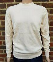 Men`s Jumper Crew Neck Cotton Blend Size Medium Cream / Ivory Ex-M&S Pullover