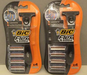 Bic Flex And Easy Men's Razor X 2 (2 Handles & 8 Blades) New