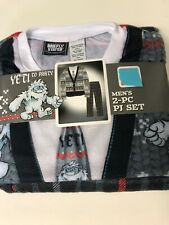 NIP Yeti To Party Mens 2 piece Sleep Set Pajamas Christmas Ugly Sweater