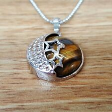 Tigers Eye Fashion Pendant Reiki Chakra Healing Necklace Moon and Stars