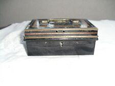 VINTAGE MONEY BOX METAL CHEST TIN, NO KEY, Size 13(L) x 5.5(H) x 8(W)cm