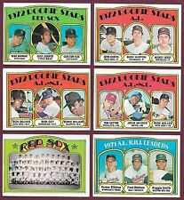 1972 Topps Boston Red Sox Complete Team Set Yastrzemski Fisk RC High #s EXEM (36
