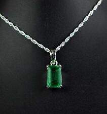 925 Sterling Silver Pendant with Chain 7-9 Ct Emerald Cut Colombian Emerald