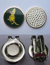 1 ONLY GOLF HAT CLIP & a Golf  BALL MARKER  KANGAROO GREEN & GOLD