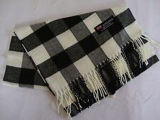 100% Cashmere Winter Scarf Scarve Scotland Warm Checkered White Black Wrap Shawl