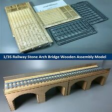 CY716 1/35 Scale Railway Stone Arch Bridge Diorama Wooden DIY Model Kits Set
