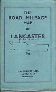 The Road Mileage Map of LANCASTER-N.A.Birikett Thornton Road, MORECAMBE-c.1953