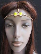 NEW WOMEN GOLD METAL HEAD CHAIN FASHION JEWELRY BIG CENTER YELLOW BOW HEADBAND
