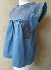 ISABEL MARANT LEAL BLUE  BLACK EMBROIDERED TOP SIZE S / M