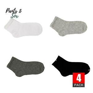 4 Pairs Dark Grey School Sports Socks Kids Boy Boys Girl Cotton 13-3 5-8 9-12