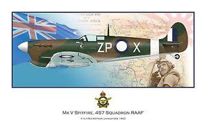 WWII WW2 RAAF MkV Spitfire Aviation Art Profile Photo Print - #3 of 3