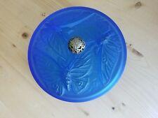Cobalt Sapphire Cobalt Blue Frosted Satin Verlys Butterfly Dresser Powder Box