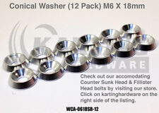 Go Kart Racing, Conical Aluminum Washer 12 Pack (Silver) 6mm X 18mm, Hardware