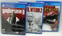 (3) PS4 Playstation 4 Wolfenstein II New Colossus & Evil Within 2 & God of War 3