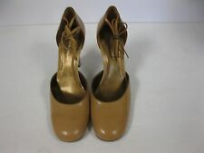 Enzo Angiolini Danae Camel/Dk Gold Leather Pumps with ankle strap. size 9.5