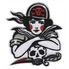 Sourpuss Pirate Girl Iron On Patch Skull Punk Rockabilly Tattoo Embroidered