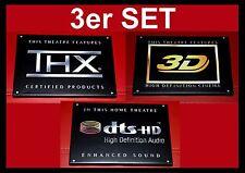 """3er Set - """"THX/3d/DTS-HD High Definition Audio"""" Logo Toile Bouclier Maison Cinéma"""