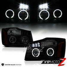 For 2004-2015 Nissan Titan [SINISTER BLACK] Halo LED Projector Headlights Lamps