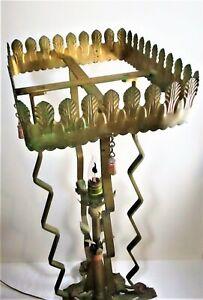 UNCOMMON ART DECO CAST IRON FISHBOWL STAND, ELECTRIC LIGHT, FINE CONDITION