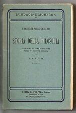 STORIA DELLA FILOSOFIA Wilhelm Windelband Sandron 1912 Zaniboni