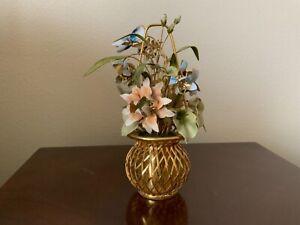 """Mottahedeh Design Brass Enamel Flower Basket 8"""" High 5"""" Wide India"""