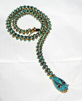 Fine Vintage Snake Necklace Jewelry Natural Turquoise & Natural Diamond Necklace