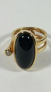 sz 7.25 ROSS SIMONS STERLING SILVER GOLD PLATE BLACK CLEAR RING 8g