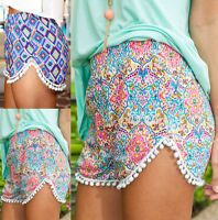 Womens Girls High Waist Printed Summer Pants Ladies Casual Beach Hotpants Shorts
