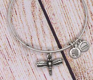 Alex and Ani Dragonfly Charm Bangle Silver Bracelet (A)