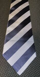 NWOT Kiton Napoli Aubergine Navy Blue Heavy Twill Blue Strip 7 Fold Silk Tie