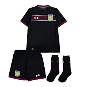Aston Villa Bambini Calcio Kit Completo Under Armour Trasferta Strip 2017-18