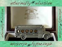 JONETTE JEWELRY Signed JJ Articulated Faces School Bus Vintage Pewter Brooch Pin