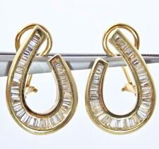 14KT 1.5CTW BAGUETTE DIAMOND OMEGA BACK EARRINGS