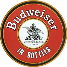 Anheuser Busch Budweiser in Bottles Bud Round Vintage Style Metal Tin Sign New