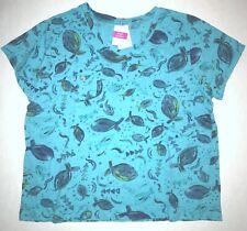 FRESH PRODUCE 3X Luna Blue FISH FLOAT Fem Logo Heritage V Neck Top NWT New 3X