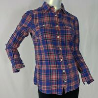 J. Crew Womens (4) Small Button Front Plaid Long Sleeve Shirt Blue Pink