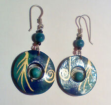Earrings,Turquoise Disk W Bead On Coiled Wire In Center, Dangle Style, Vgc