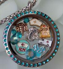 Nurse RN Gift Stainless Steel Twist Teal Silver Living Locket Floating Charms