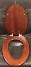 Porcher 71020-00.670 Elongated Wood Toilet Seat w/ Chrome Hinges, CALLA CHERRY