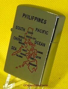 ✌️Vintage KONWAL SUPER Petrol Lighter Map Of Philippines Made In JAPAN✌️