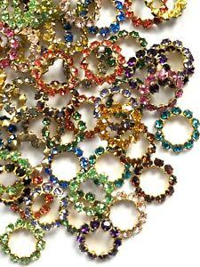 S093 - 72 Set w/ Swarovski Rhinestones - Assorted Colors of Rings - 10mm  !!