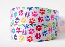 1M X 22mm Grosgrain Ribbon Craft DIY Cake Decorations Hair Bows - Colourful Paws