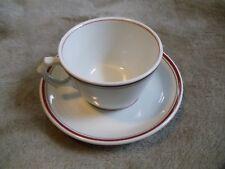 Pillivuyt Bistro White w/ Red & Black Stripes Pattern PILPIL1 Cup & Saucer Set
