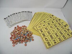Vintage Lot Wooden Bingo Calling Numbers Wood Game Piece - Bingo Cards