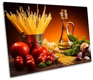 Fresh Italian Pasta Food Print SINGLE CANVAS WALL ART Picture Orange
