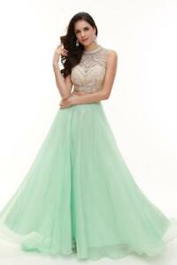 AVA PRESLEY PROM 31146 MINT GREEN NUDE TWO PIECE A-LINE EVENING GOWN SIZE 6
