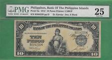 1912 BANK OF THE PHILIPPINES ISLANDS TEN PESO P-8a PMG VF 25 SCARCE SIGN