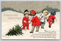 Ellen H Clapsaddle Christmas~Victorian Children Drag the Tree Home~Emboss~SHARP!